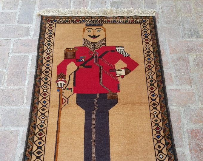King Amanullah Khan Portrait rug, Handmade Afghan King Pictorial rug, Decor rug, Free Shipping