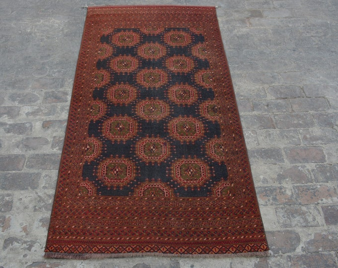 Semi Antique turkoman sarook tribal handmade wool rug / Decorative rug vintage Turkoman tekka traditional rug
