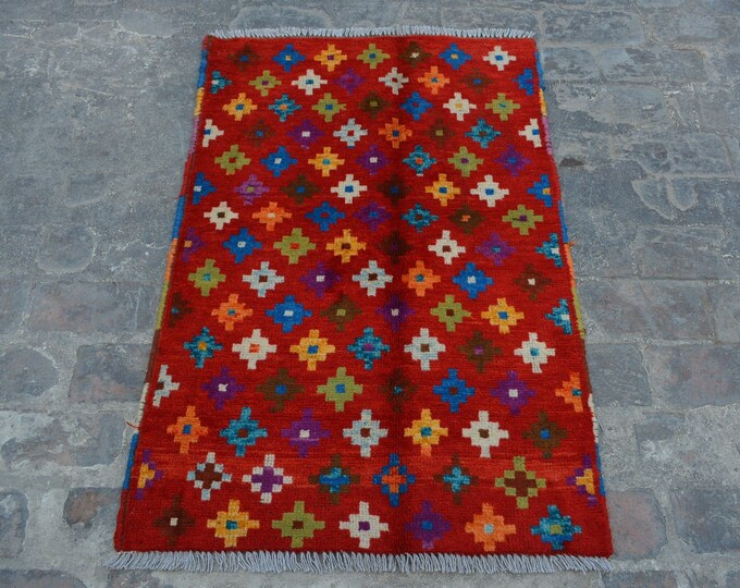 Vintage Afghan Bohemian Decorative handmade wool Red rug / Decorative rug vintage afghan traditional gypsy rug