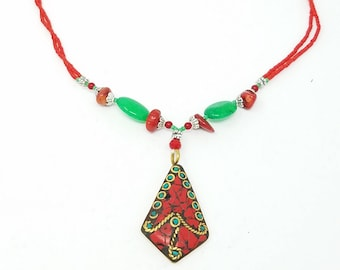 Beautiful Afghan kuchi Coral and jade Necklace , gypsy pendant /Afghan jewelry , Gypsy style jewelry Boho necklace