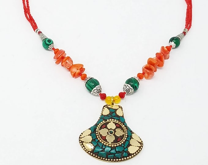 Beautiful Afghan kuchi jade and coral stone necklace , gypsy pendant /Afghan jewelry , Gypsy style jewelry Boho style