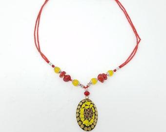 Beautiful Afghan kuchi Necklace , gypsy pendant /Afghan jewelry , Gypsy style jewelry Boho necklace