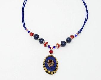 Beautiful Afghan kuchi lapis necklace, gypsy pendant /Afghan jewelry , Gypsy style jewelry Boho pendant