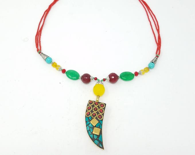 Beautiful Neplai Kuchi necklace , tribal pendant boho style/ Afghan jewelry  / gypsy style necklace