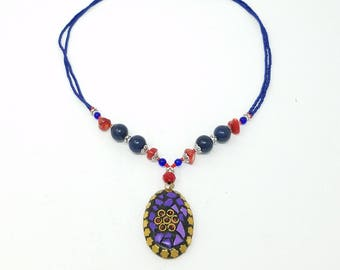 Beautiful Afghan kuchi Lapis Necklace , gypsy pendant /Afghan jewelry , Gypsy style jewelry Boho necklace