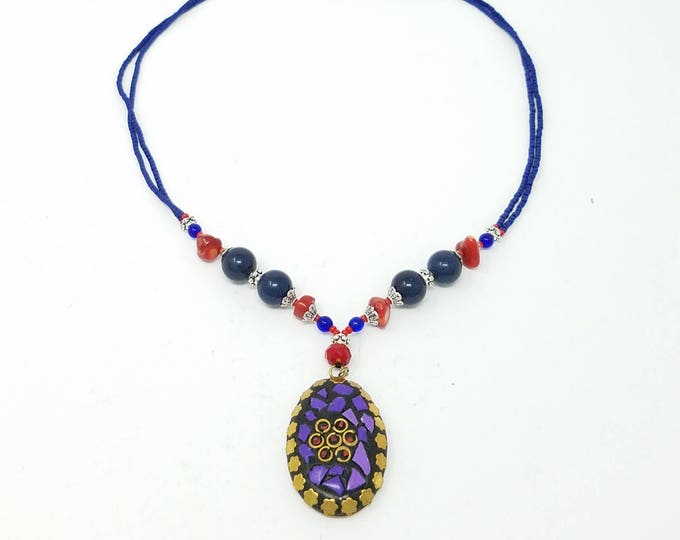 Beautiful Afghan kuchi Lapis Necklace , gypsy pendant /Afghan jewelry , Gypsy style jewelry Boho necklace