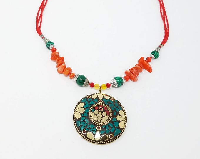 Beautiful Afghan kuchi coral and jade stone necklace  , gypsy pendant /Afghan jewelry , Gypsy style jewelry Boho style
