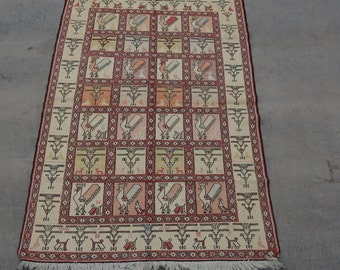 Vintage Spectacular handwoven tribal Turkish nomadic Pictorial Silk kilim / Traditional kuchi kilim/ Turkish Chicken Gypsy Silk kilim