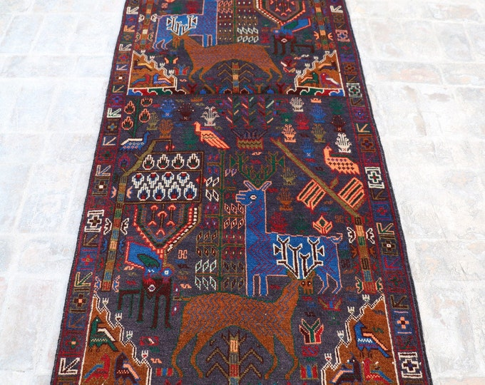 Afghan Tribal Rug runner , Pictorial rug runner, Decorative rug runner, Elegant rug, Vintage rug runner,