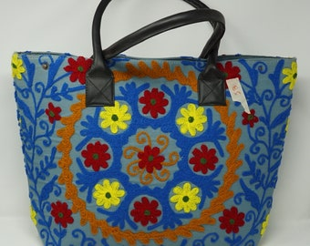 Vintage Style Unique Ethnic Indian hand Embroidered Large Tote Bag