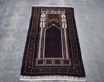 2'10 x 5'3 Afghan Kawdani prayer rug - baluch rug - tribal afghan turkmen rug - oriental baluch rug - free shipping
