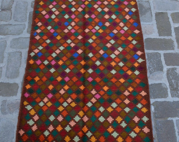 91 x 135 cm. Soft wool hand made modern rug/ Free Shipping