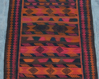 FREE SHIPPING 3'10 x 5'9 ft Vintage Afghan Nomad's tribal kilim /this handwoven kilim will make your Space even more stunning and beautiful