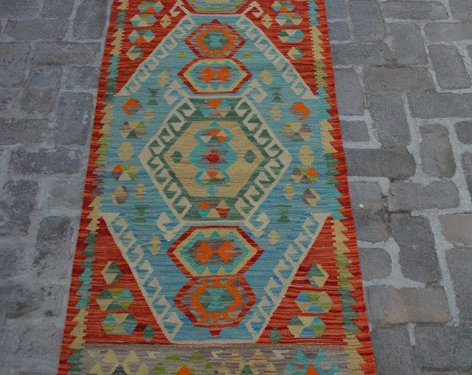 Colorful Handmade Afghan kilim Rug Runner/ Free Shipping - 83 x 303 cm