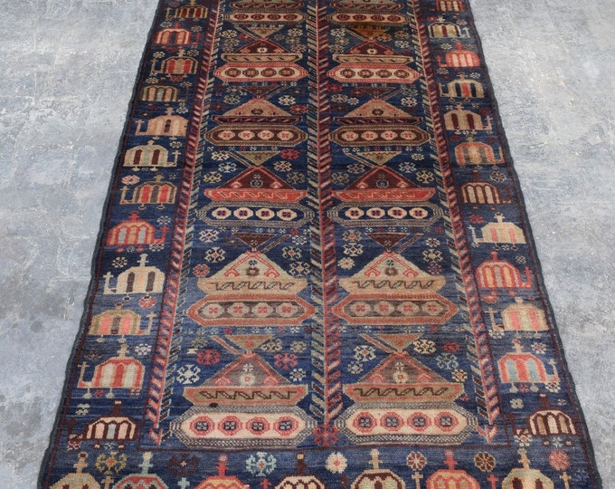 3'8 x 6'6 - Handmade Afghan Tribal War rug, 100% wool
