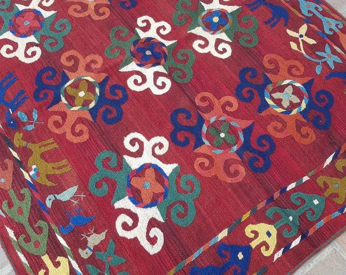 158x188 Brick red suzani kilim rug - Tribal Embroidery kilim - living room kilim - turkish kilim - wool rug - traditional kilim