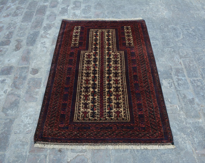 Antique Afghan Nomadic tribal handmade wool prayer rug / Decorative rug vintage afghan traditional kawdani prayer rug