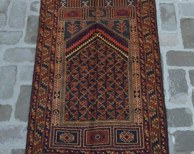 82 x 138 cm. Afghan handmade tribal prayer rug