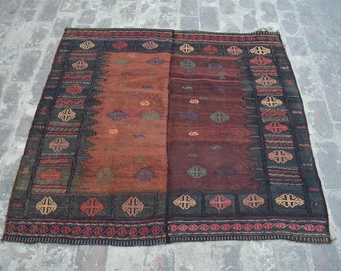 Afghan Tribal Vintage Sofreh kilim rug / square Sofreh kilim handwovn kilim turkish kilim