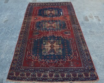Antique Caucasian style tribal handmade wool rug / Decorative rug Antique traditional rug