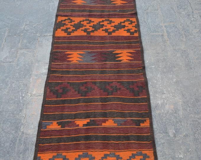 Stunning handwoven Afghan tribal baluchi Maldari kilim runner / Nomadic kilim decorative Afghan  kilim runner/ hallway tribal kilim runner