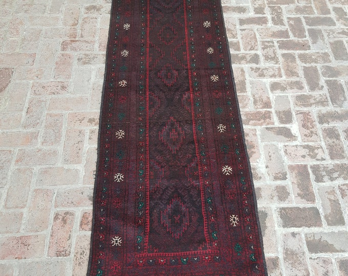 90x315 Afghan Tribal baluch runner rug - hand knotted rug runner - hallway runner rug - tribal wool runner rug - free shipping