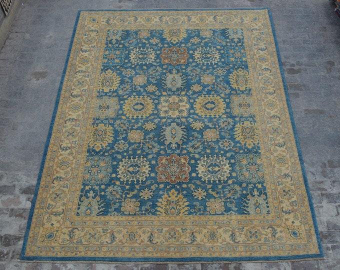 9 x 12 -Handmade Unique Design Oushak Chobi Afghan Rug Oriental Carpet / best quality wool rug handspun wool