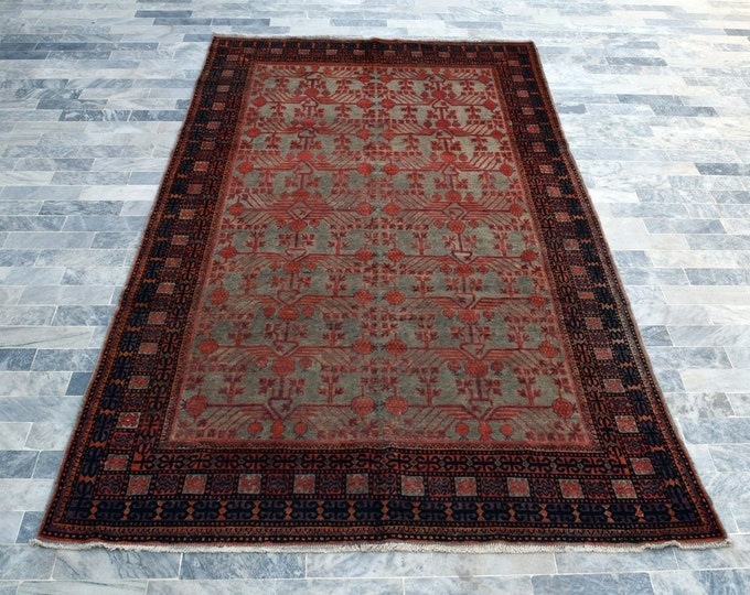"Antique 5'6"" x 10'3"" Khotan Rug Pomegranate Hand Knotted Wool Rug Art Deco Rug 1910s - FREE SHIPPING, Bedroom rug, Livingroom rug"