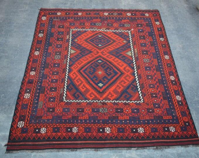 "8'6 x 10'4"" ft. - Vintage Afghan tribal kilim Rug, Traditional ghalmori kilim"