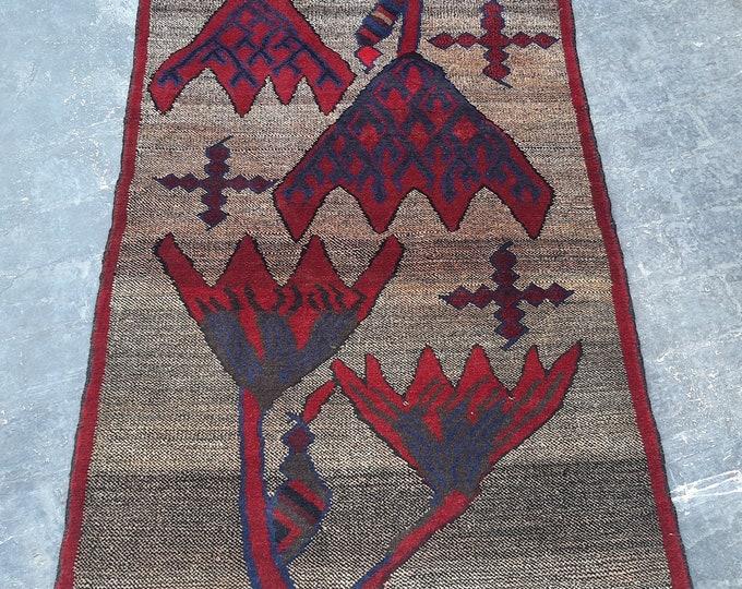 Afghan tribal baluch geometric rug 3'8 x 4'11 - handmade tribal wool rug
