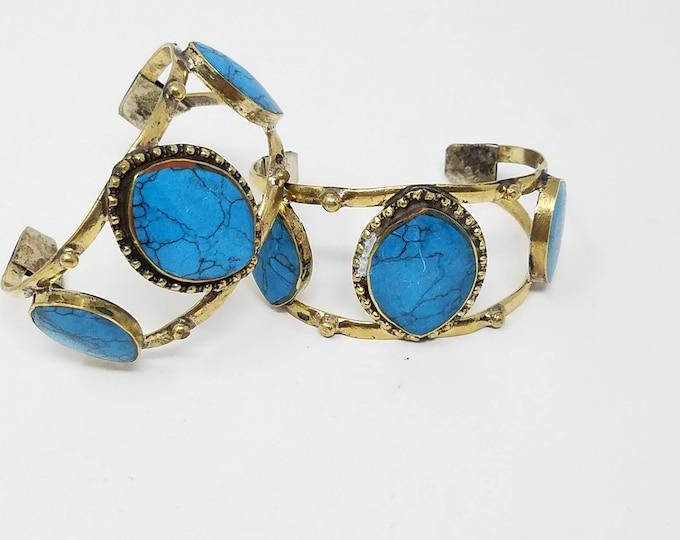 Beautiful Afghan Kuchi 2 piece turquoise Cuff bracelets , tribal pendant boho style/ Afghan jewelry
