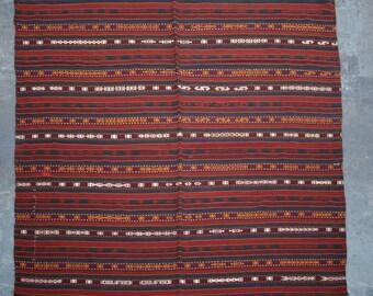 Traditional Uzbek Handwoven Gajari kilim Blanket kilim rug 5'10 x 6'7 ft