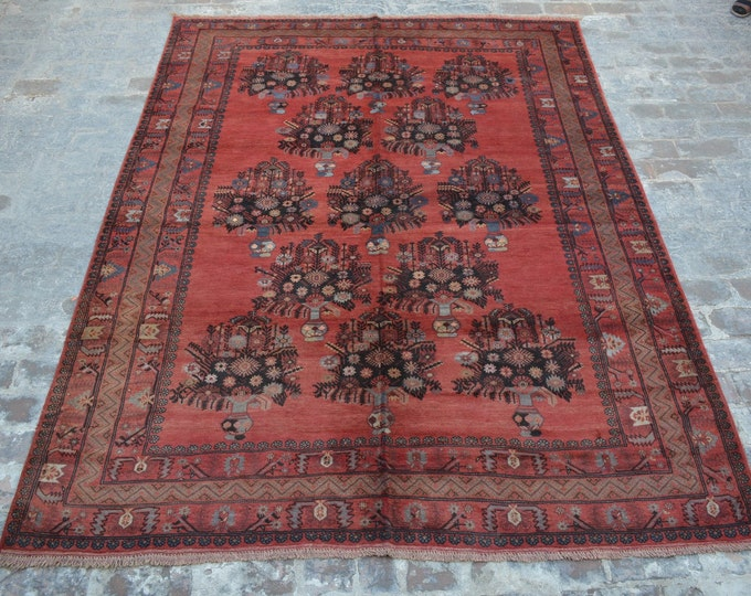 Large Vintage Afghan turkoman tribal bashiri handmade wool rug / Decorative rug vintage afghan traditional rug