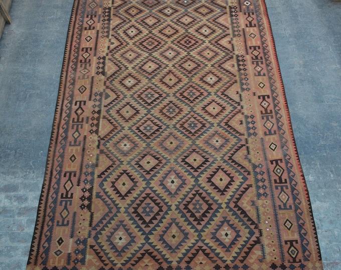 "8'9 x 15'5"" ft. - Large Vintage Afghan tribal kilim Rug, Traditional ghalmori kilim"
