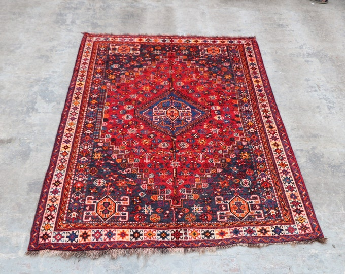 COLLECTOR'S - 1940s Semi - Antique Hand knotted turkish babai Area rug / Caucasian Traditional rug rare Design