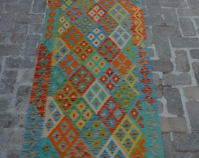 Colorful Handmade Afghan kilim Rug Runner/ Free Shipping - 88 x 290 cm