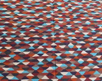 143x204 Afghan Flatweave Kilim rug - Colorful kilim rug - Decorative kilim rug - wool kilim - turkish kilim rug - Free Shipping