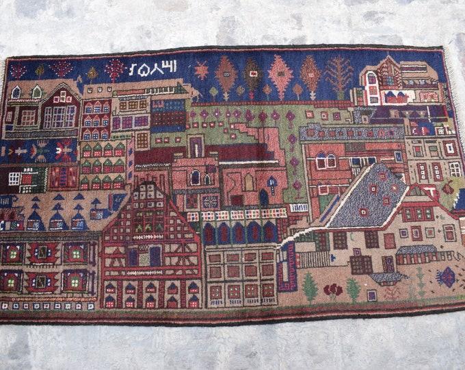 2'10 x 4'9 ft. Vintage handmade Afghan baluch tribal rug