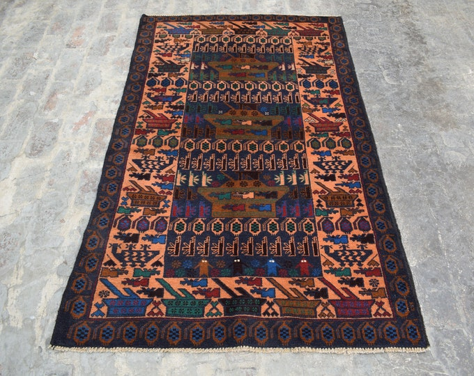 3'10 x 6'3 - Handmade Afghan Tribal War rug, 100% wool