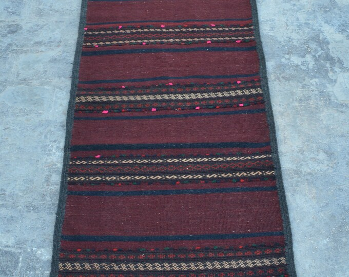 Vintage handmade kilim Sarandaaz 100% wool nomad Runner
