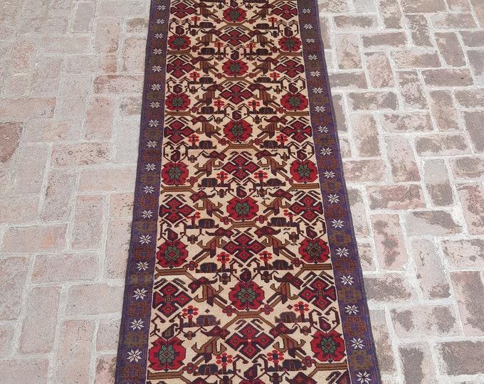 91x292 Handmade Afghan Baluch runner rug - hand knotted afghan Tribal runner - 100% wool runner rug - hallway runner rug - free shipping