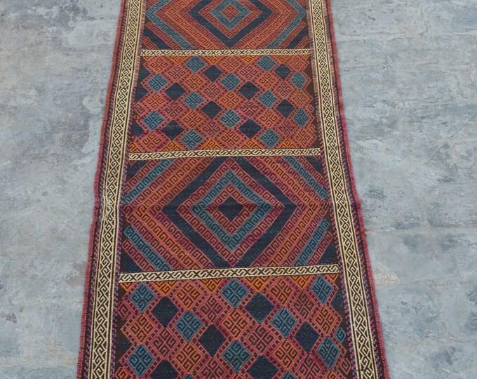 Elegant handmade Nomad kilim runner 100% wool
