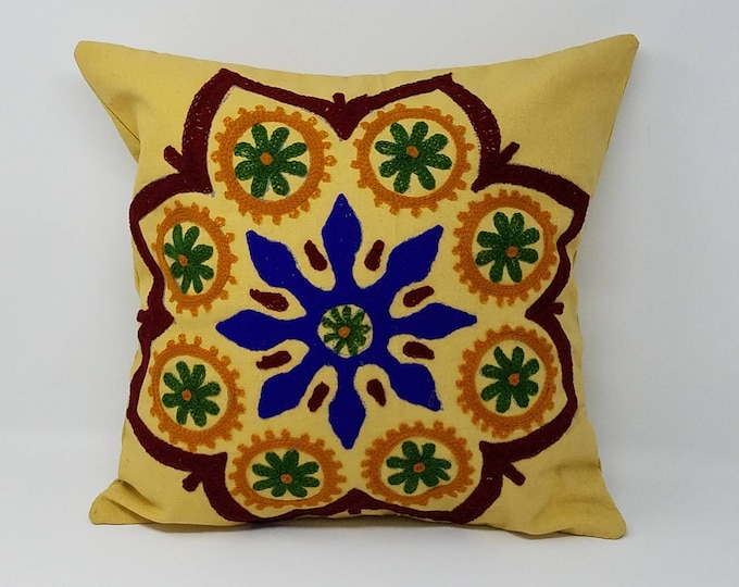 Beautiful Embroidered Decorative pillow cover/ handmade pillow cover  suzani pillow, Gypsy pillow