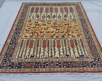 7'0 x 9'6 ft Elegant super Quality hand knotted Afghan Ayna Rug decorative this rug will make your room even more beautiful