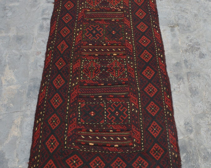 Afghan vintage Tribal Handwoven kilim runner 100% wool kilim runner / Decorative kilim runner