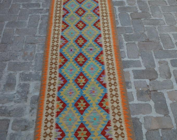 Colorful Handmade Afghan kilim Rug Runner/ Free Shipping - 79 x 403 cm