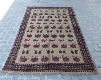 Large Afghan Tribal War rug, Handmade Afghan wool rug, Decorative rug, Bedroom rug, Living room rug, Free Shipping