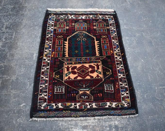3'0 x 4'0 Afghan rug - hand knotted wool rug - kitchen rug - area rug - tribal rug - turkish small rug - free shipping