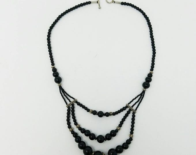 Free shipping- Afghan kuchi necklace black stone , beautiful necklace