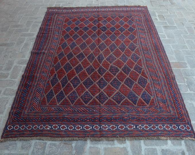 FREE SHIPPING - Afghan Rug Tribal hand knotted Mashwani Kilim Rug/ 190 x 277 cm